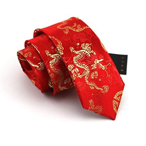Dünne Der Kostüm Mann Designer - BAIJJ 7cm roter chinesischer Drache 100% Seide klassisches Design Männer Krawatte Allgleiches Party Business Abend Hochzeit Bräutigam in Geschenkbox