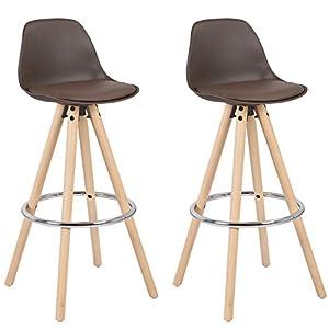 WOLTU® BH45dgr-2 2 x Barhocker 2er Set Barstuhl aus Leinen Holzgestell mit Lehne + Fußstütze Design Stuhl Küchenstuhl…