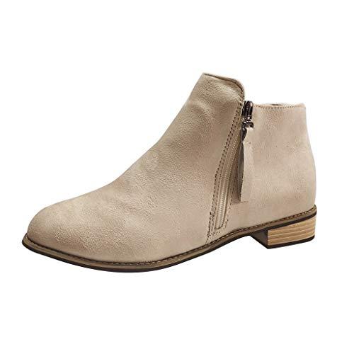 RYTEJFES Stiefeletten Damen Chelsea Boots Flandell Vintage Kurzschaft Stiefel Bequeme Leich Ankle Boots Mode Süße Freizeitschuhe