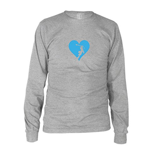 Heart is a Kingdom - Herren Langarm T-Shirt Grau Meliert