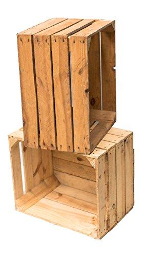 Vintage Holzkisten OBSTKISTE Weinkiste Used Look stabil und gereinigt (2er Set)
