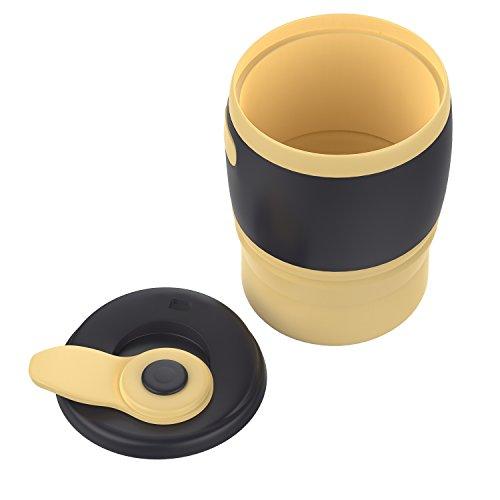 MoKo Faltbar Kaffeetasse - Tragbarer 350ML Kaffeebecher mit Deckel, BPA-Frei Silikon, 12 oz, Mehrweg Reisebecher zusammenklappbarer Tee Tasse für Camping Outdoor, Reise, Lesen, Schule, Beige