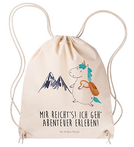 Bergsteiger-tasche (Mr. & Mrs. Panda Sportbeutel Einhorn Bergsteiger - 100% handmade in Norddeutschland - Unicorn, Weltreise, Baumwolle, Hipster, Gymsack, Bergsteiger, Reisen, Jutebeutel, Tasche, Tragetasche, Berge, Einhorn)