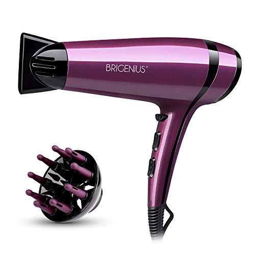 Secador de Pelo iónico con difusor, Secador de cabello profesional ThermoProtect 2200W, secado rápido y bajo ruido - Púrpura / Negro