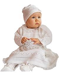 EKO Baby Taufkleid für Mädchen Strick-Set Mütze und Kleid weiß