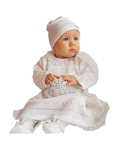 festmode baby EKO Baby Taufkleid für Mädchen Strick-Set Mütze und Kleid weiß, Größe:74, Farbe:weiß
