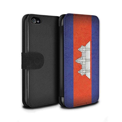 STUFF4 PU-Leder Hülle/Case/Tasche/Cover für Apple iPhone 8 / Georgien/Georgisch Muster / Asien Flagge Kollektion Kambodscha