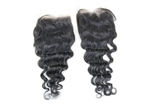 Cheveux Vierges brésiliens 30,5 cm Deep Wave dentelle fermeture/fermeture supérieure (8,9 x 10,2 cm) couleur naturelle 120% Densité