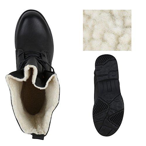 Damen Schnürstiefeletten Lederoptik Stiefeletten Warm Gefüttert Schwarz