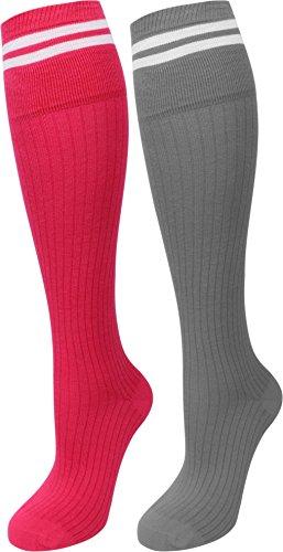 normani 4 Paar Kniestrümpfe lang mit Zwei Streifen Farbe Pink/Grau