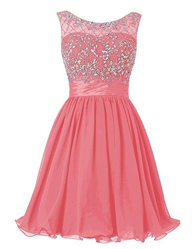 BetterGirl Chiffon Kurz Perlen Ballkleid Abendkleid Brautjunferkleide-Koralle-34