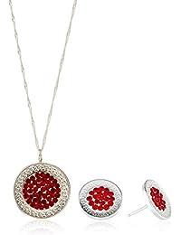 Córdoba Jewels | Conjunto de gargantilla y pendientes en Plata de Ley 925 y Swarovski elements. Diseño Greca Rubí