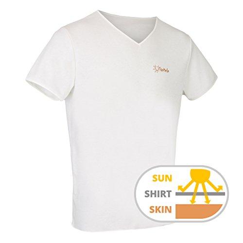 TanMeOn Durchbräunendes V-Ausschnitt Shirt für Herren, T-Shirt braun Werden, Farben: Weiss, Blau oder Grau, Größen: S, M, L, XL, XXL (Weiss, M) (Wasser-logo-t-shirt)