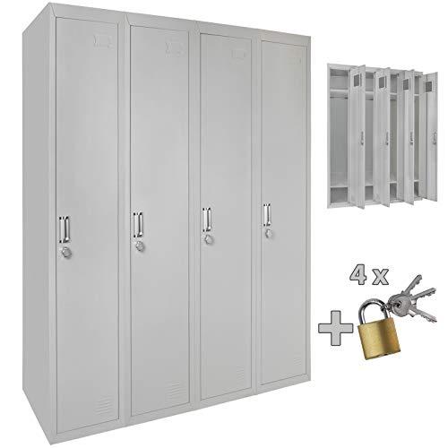 Vierfach Spind Schließfachschrank Metallschrank Garderobenschrank 180 x 120 x 50 cm - wahlweise MIT oder OHNE Schlösser - Grau/Grau ; MIT Schlösser