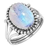 Jeweloporium Regenbogen Mondstein Ring 925 Sterling Silber Handgefertigte Schmuck Größe 69 (22.0)