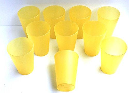 10 Plastik Trinkbecher 0,4 l - gelb - Mehrwegtrinkbecher / Partybecher / Becher
