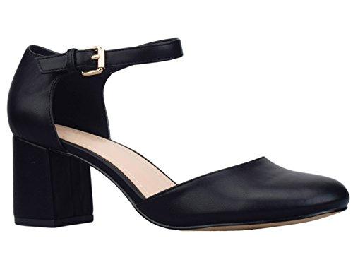 Greatonu, scarpe da ballo da donna, con punta quadrata, modello Mary Jane, con tacco, Nero (Nero ), 36.5