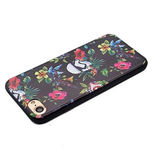 Etsue pour iPhone 6/6S(4.7 Pouce) Coque de Téléphone,Mode Doux TPU Case Housse pour iPhone 6/6S(4.7 Pouce),Sur Fond Noir [Paysage Nocturne de New York] Motif Soft Silicone Case étui shell pour iPhone  Fleur