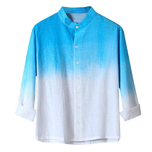 Setsail Herren Business-Shirt Cooles dünnes atmungsaktives gefärbtes Baumwollhemd -