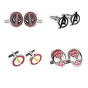4 Paar Avengers Superhero Manschettenknöpfe Iron Man Thor Captain America Flash Deadpool Batman Krawattenklammer für Herren Party Hemd Cool Cufflink