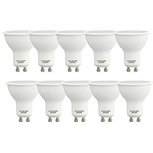 Lampaous 10er Pack Led GU10 5 Watt Dimmbar Led Leuchtmittel gu10 350lm superhell Ersatz für 35 bis 40 Watt Halogen Lampe warmweiss 3000k -