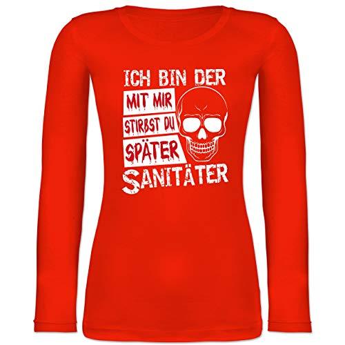Armee Kostüm Sanitäter - Halloween - Mit Mir stirbst du später Sanitäter - weiß - S - Feuerrot - BCTW071 - Langarmshirt Damen