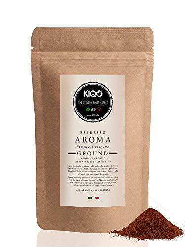 KIQO Aroma 1kg Espresso aus Italien | in schonenden Kleinstchargen geröstet | säurearm | 65% Arabica & 35% Robusta Bohnen (1000g - gemahlen)