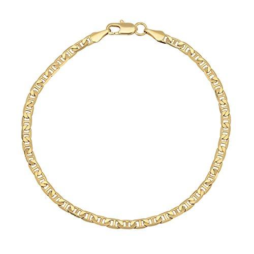 3,5 mm, placcato in oro giallo 14 k, marine, placcato oro, colore: oro, cod. GL-048ZB-08 - 8 Flat Marina Catena