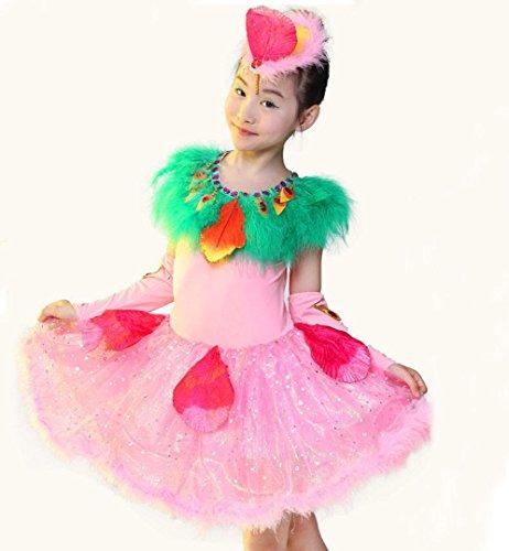 Vogel Kostüm Ballett - HUOFEINIAO-Tanzkleidung Kinder glücklich Kuckuck Show Kostüm Tanz Tier Vogel Tanz Kostüm Mädchen Tanz Rock, 130cm, pink