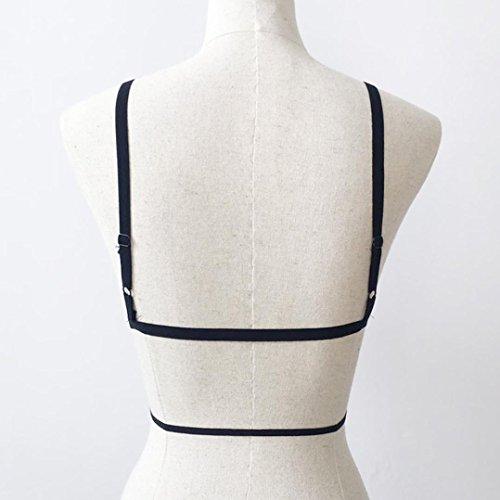WINWINTOM Frauen Bandage Lace Bralette Bustier Crop Top Sheer Dreieck Ungepolsterte BH Schwarz