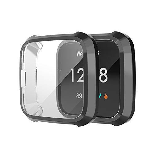 Für Fitbit Versa Lite Hülle Displayschutz,2 Pcs Ultra dünn Ultradünne TPU Stoßfest Präziser Ausschnitt Schutzhülle Rundherum Schutz Case Stoßstange Hüllenabdeckung Case (Schwarz)