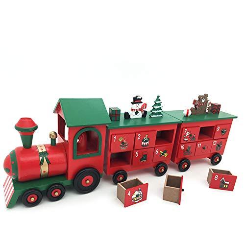 YSYDE Train de Calendrier de l'avent en Bois de Noël, Longueur de 24 Pouces, avec Figurines peintes à la Main et 24 tiroirs pour, remplir de Bonbons ou de Petits Cadeaux, C'est Aussi Un pour