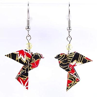Boucles d'oreilles colombes origami verticales noires et rouges - crochets inox