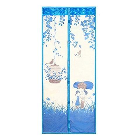 DAYNECETY Magnetic Mesh Door Curtain Screen Floral Print Insert Fly Bug Mosquito Net Door Blind, Pack of 1 Set (90cm * 210cm(35.4