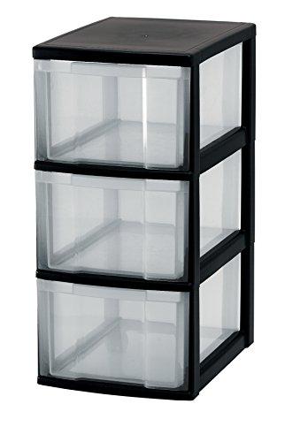 Iris Schubladenschrank/Schubladenbox/Rollwagen/Rollcontainer/Werkzeugschrank 'New Chest', NMC-303, mit Rollen, Kunststoff, schwarz/transparent (3-schubladen-box)