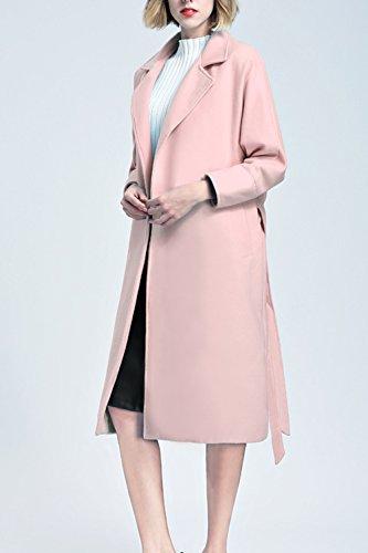 Le Donne Inverno Elegante Solido Risvolto Addensato Frustava Tweed Coat Indumenti Di Lana Pink