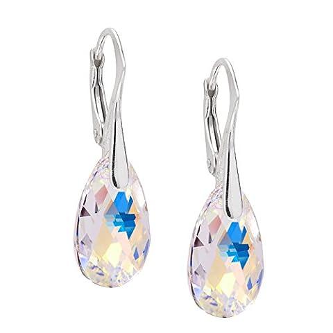 LillyMarie Damen Ohrringe Tropfen Silber 925 Crystal original Swarovski Elements mit Schmuckbeutel Geburtstags Geschenk Freundin