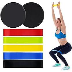 5 Bandas Elasticas y 2 Discos Deslizantes Fitness Ejercicio set,Bandas de Resistencia y Sliders,Gomas Cinta Elastica para entrenar piernas glúteos yoga, pilates, crossfit, musculacion y recuperación