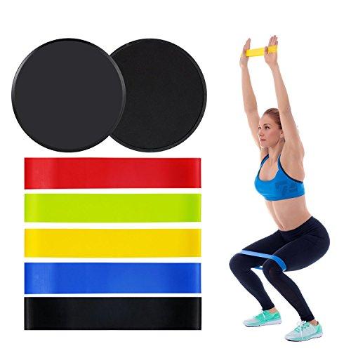 Bande de Resistance et Disques glisseurs,5 Bandes Elastiques et 2 Core Sliders fitness, Accessoires de sport Portable pour Yoga la Maison Gym et Musculation Crossfit Récupération Pilates
