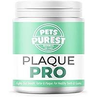 Pets Purest Polvo para Eliminación de Sarro y Placa para Perros, Cachorros y Gatos (180g) Plaque Clean 100% Natural para Animales. Limpia y Cuida Dientes Blancos y Encías. Ayuda contra el Mal Aliento