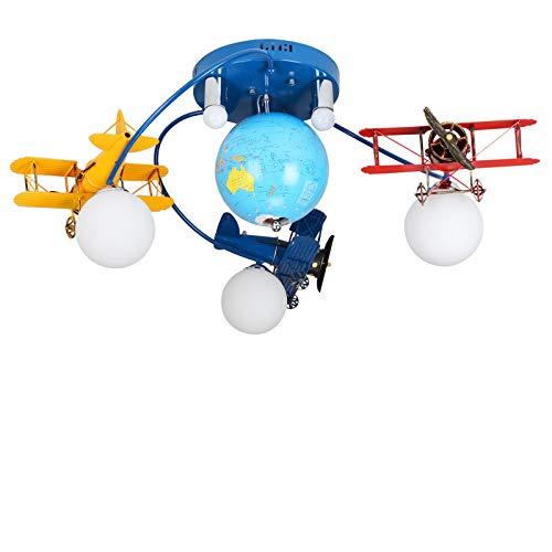 WSR Deckenbeleuchtung, Kinderzimmer Deckenleuchten, Flugzeug Globus Augen Pflege Pendelleuchten, Jungen Mädchen Schlafzimmer Cartoon Kronleuchter,Mit Fernbedienu,6 Kopf