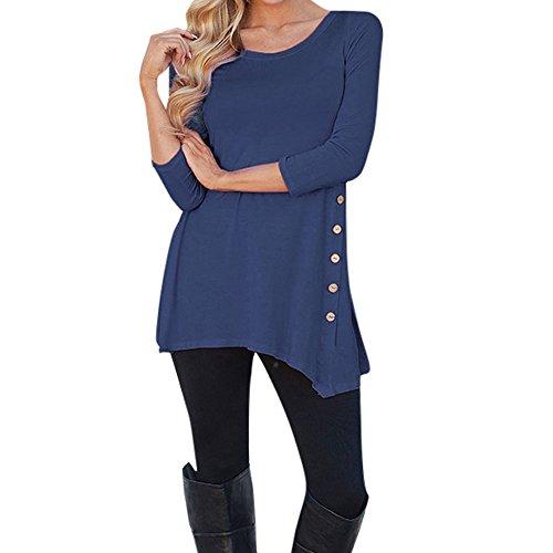Gefütterter Gesteppte Jeans (Pullover Damen, SEWORLD Neuer Mode Frauen Langarm Lose Knopfleiste Bluse Einfarbig Rundhals Tunika T-Shirt Tops Bluse (Dunkelblau, S))