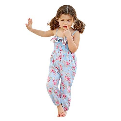 JYJM Süße Strap gerüschter Bogen Harem Hosen Overall Partykleid Babykleidung Cocktailkleid Kinderkleidung Sommerkleid (110, Blau) (4t Harem Hose)