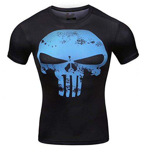 Camiseta de fitness para hombre. Manga corta. Con dibujo de calavera., Hombre, color Schwarz mit blauen, tamaño X-Large