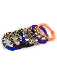 Khubsurat Stone Stud Hair Rubber Band/Ponytel Band/for Kids, Girls And Women, Set Of 6 Pieces Of Mix Colour