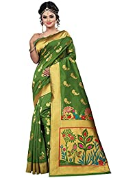 Aksh Fashion Women's Banarasi Silk Saree With Blouse Piece (Asdf06_Multi-Coloured)