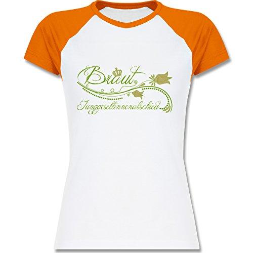 JGA Junggesellinnenabschied - Braut verspielt Blumenranken - zweifarbiges Baseballshirt / Raglan T-Shirt für Damen Weiß/Orange