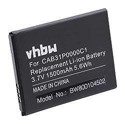 vhbw Akku 1500mAh (3.7V) für Smartphone Telefon Handy Alcatel One Touch POP, POP C3, POP C3 Dual, OT-4033D, OT-4033A wie BY71, CAB31P0000C1.