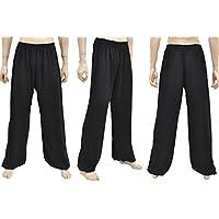 ShenLong Pantalón de Kung Fu, Tai Chi, Viscosa + Algodón - Negro, 1m70-1m80