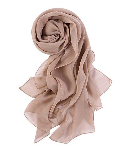 Prettystern - 176cm uni-farbe tinta unita semplice scialle in seta pura sciarpa - taupe caldo